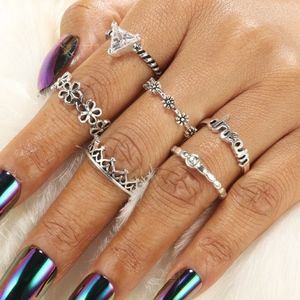 Jewelry - Boho Gypsy Silver CZ Dream Floral Cable Midi Rings